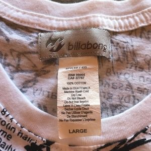 Billabong Tops - Billabong Womens V-Neck Tee White W/ Black Graffit